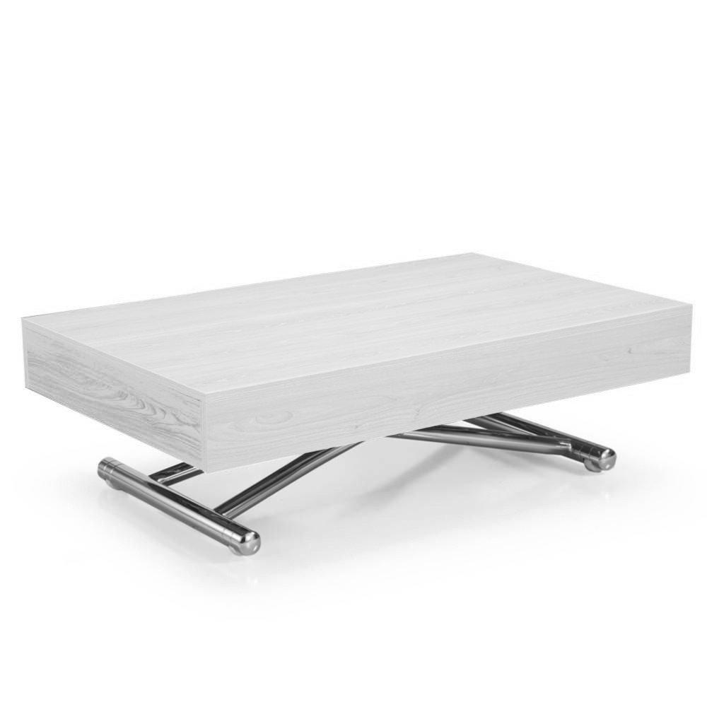 Table Basse Relevable Cube Chêne Blanc Extensible 10 Couverts