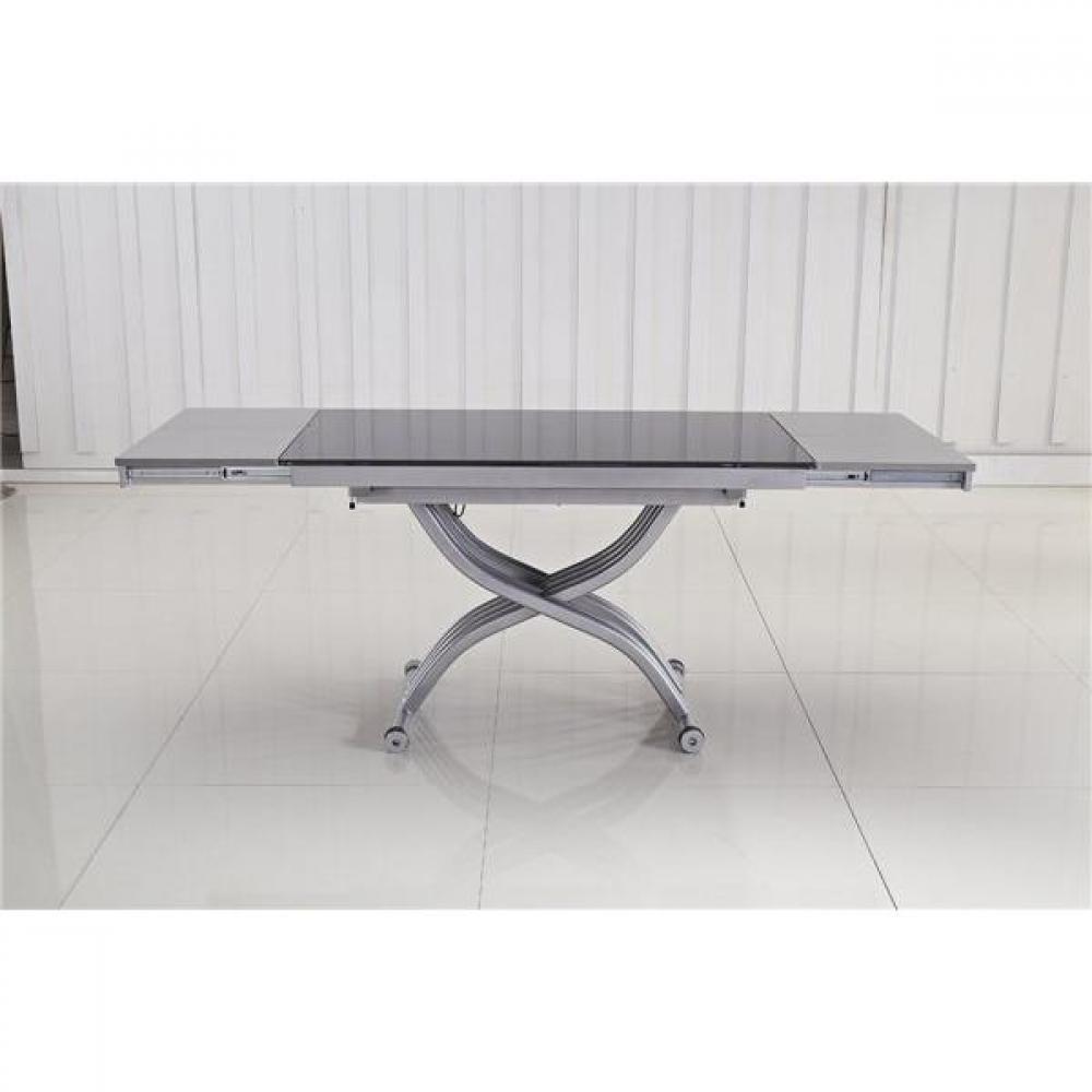 Table relevable design ou classique au meilleur prix for Table verre noir extensible