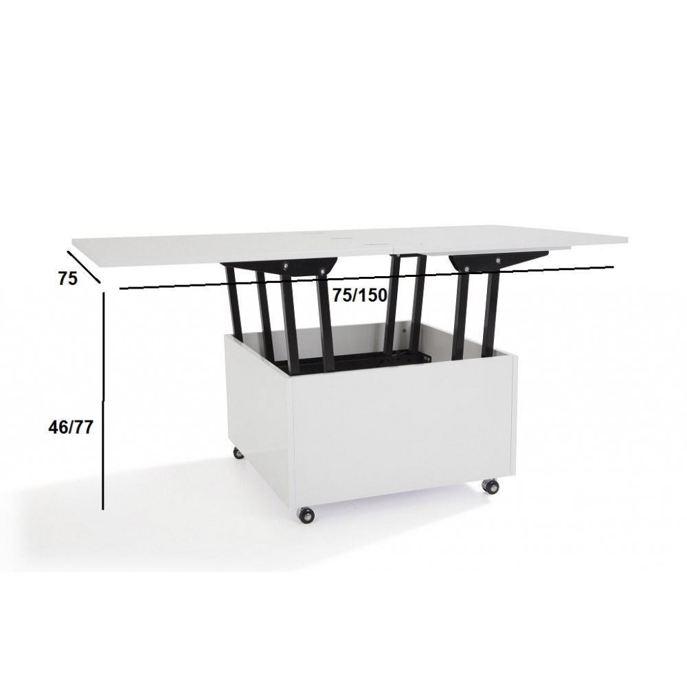 Canap convertible au meilleur prix table basse relevable for Table basse blanche relevable