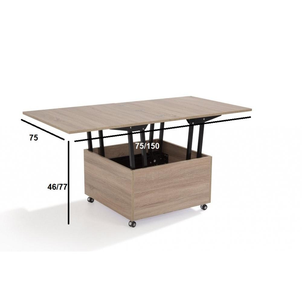 table basse relevable extensible giani chene 2 30 Beau Table Basse Relevable Extensible Iqt4