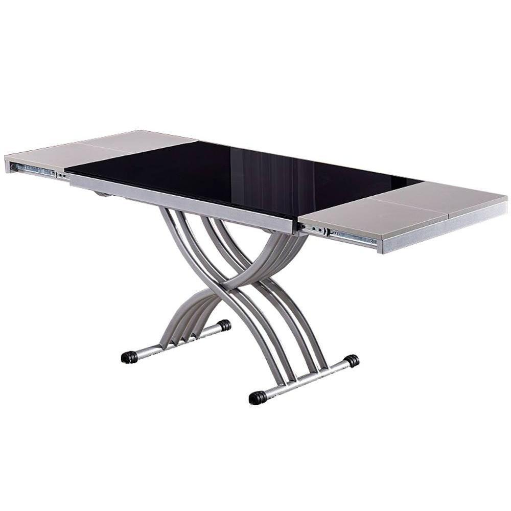 Table basse newform relevable extensible plateau en verre for Table basse relevable noir