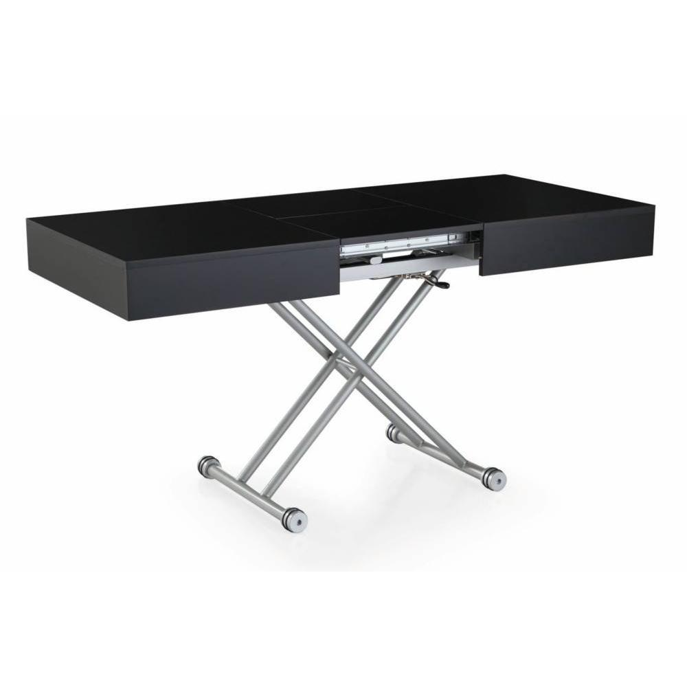 Table basse relevable ALBATROS noire mate extensible 8 Couverts