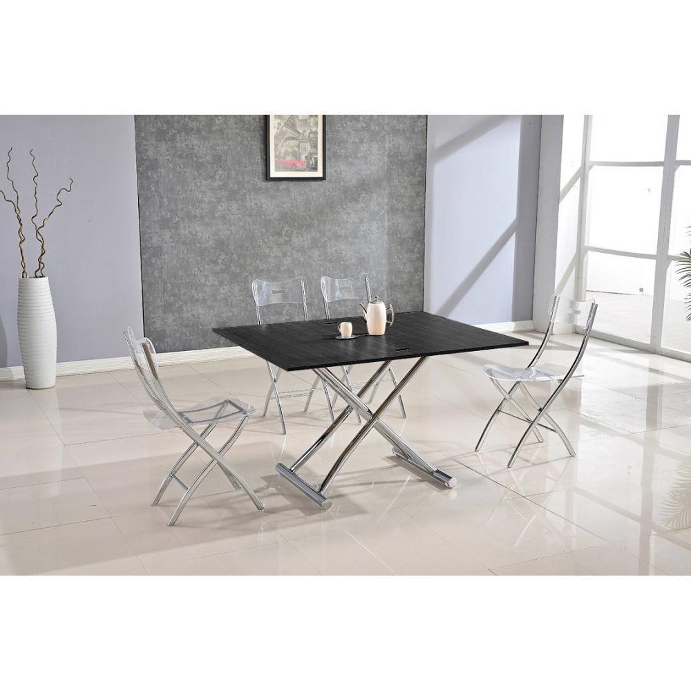 Table basse HIGH and LOW bois ceruse noir relevable extensible Petite taille compacte