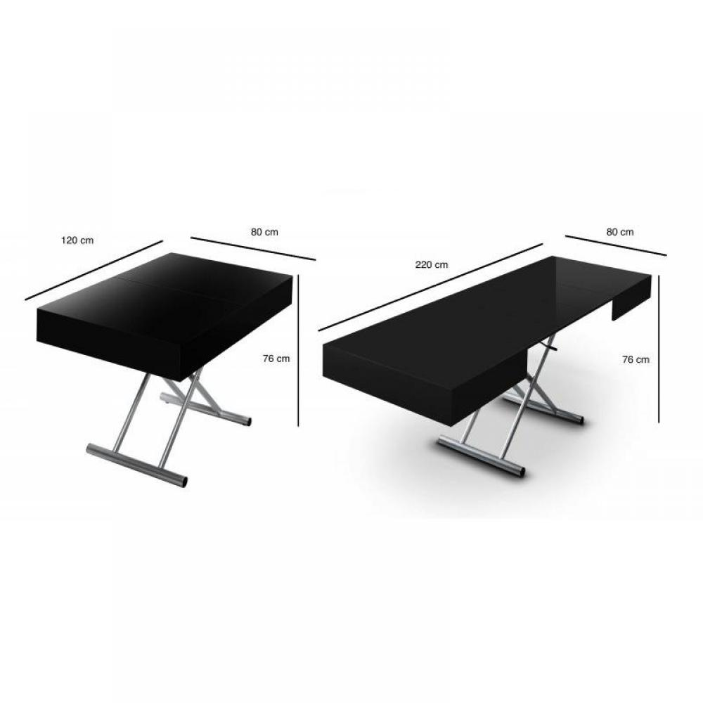 canap s convertibles ouverture rapido table relevable extensible itaca noire brillante 12. Black Bedroom Furniture Sets. Home Design Ideas