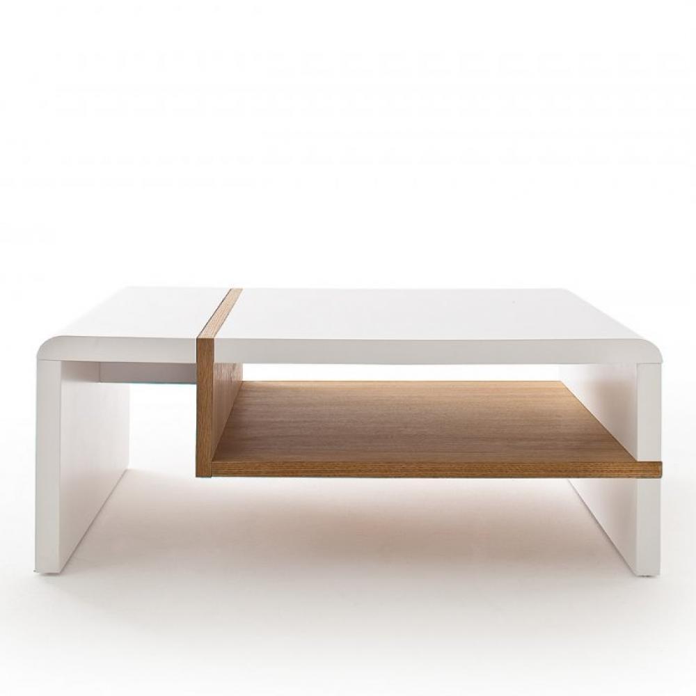 Table Basse Rodrig Blanc Laque Mat Et Tablette Placage Chene