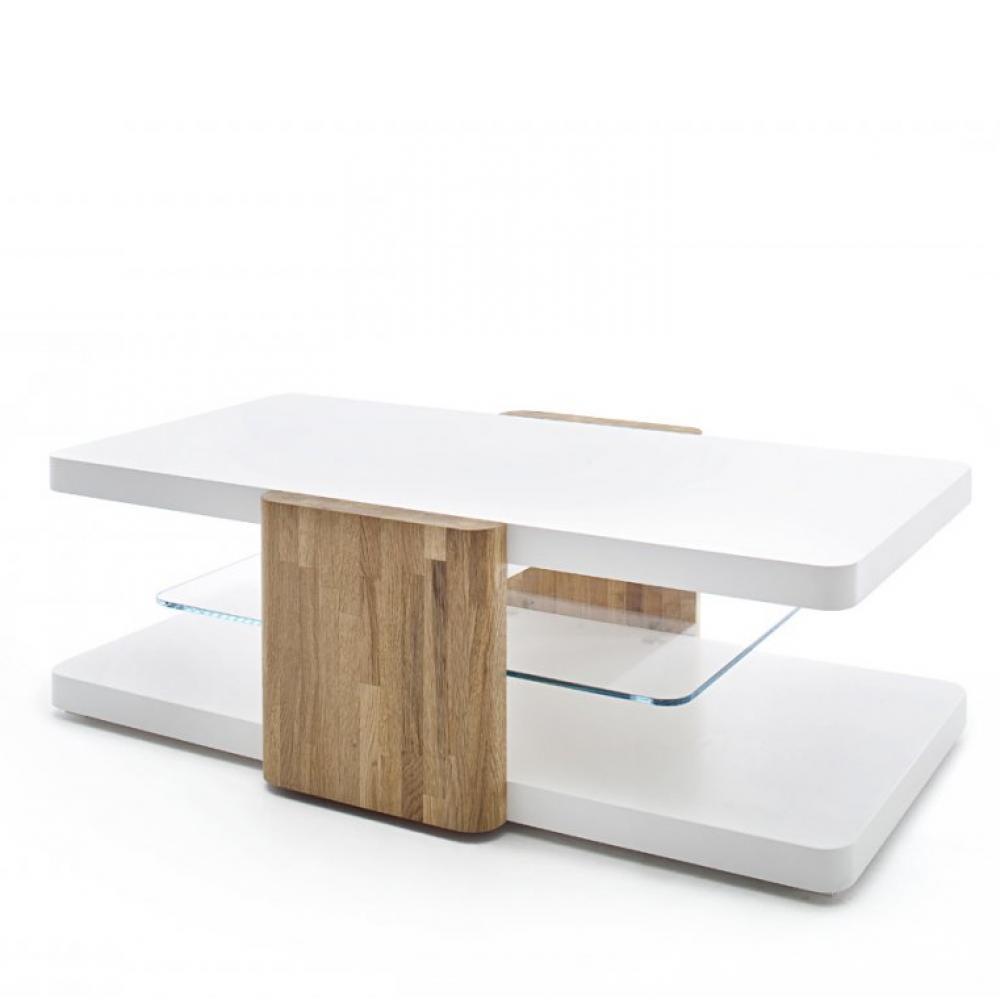 Table Basse Sandie Blanc Laque Mat Montants Chene Massif