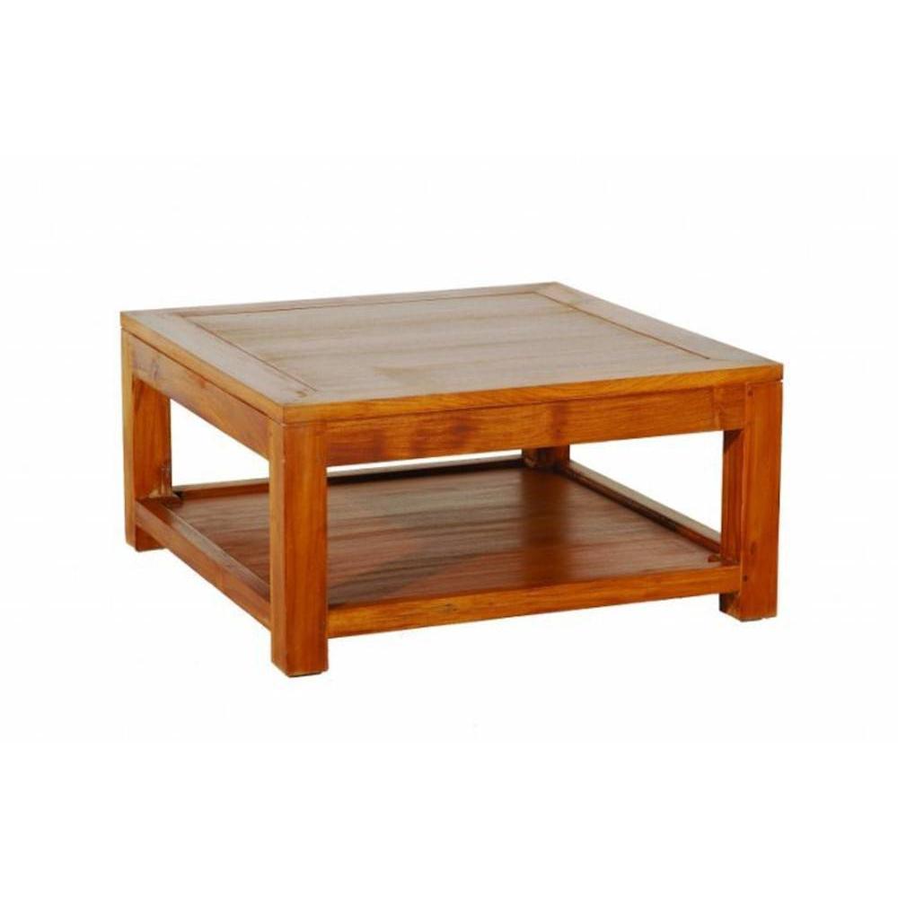 Table Basse 80*80cm avec Sous Plateau Style Colonial en Teck Massif. Une belle table basse carrée pour tous ceux qui aiment les beaux meubles e