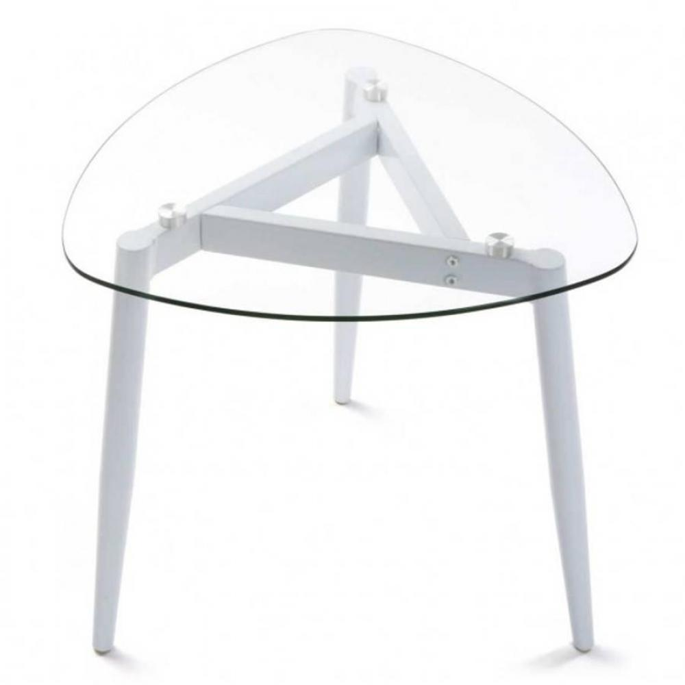 table basse verra plateau verre pied bois blanc ebay. Black Bedroom Furniture Sets. Home Design Ideas