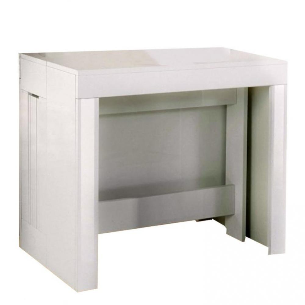 Table console extensible 7 couverts LONGO 7 cm finition laqué blanc  brillant avec 7 allonges intégrées