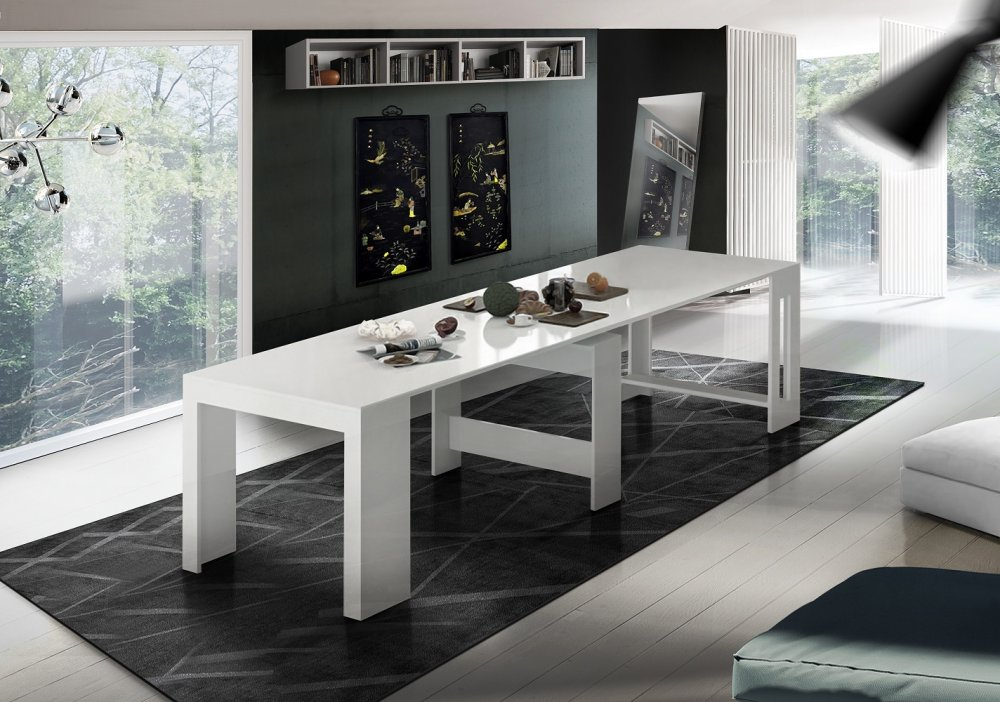 table console extensible 12 couverts longo 300 cm finition laque blanc brillant avec 5 allonges integrees
