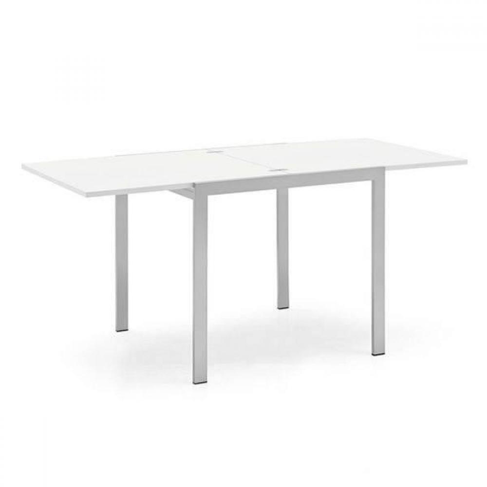 tables design au meilleur prix table repas extensible aladin 110x70 blanc pietement acier. Black Bedroom Furniture Sets. Home Design Ideas
