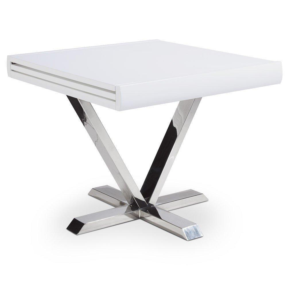 Table de repas design au meilleur prix table de repas extensible elise blanche inside75 - Table extensible rallonges integrees ...