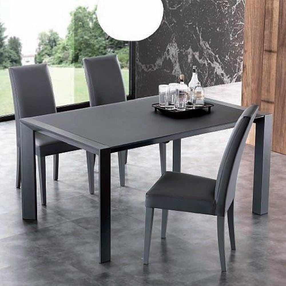 Table repas extensible LONDON BEAT en verre titane