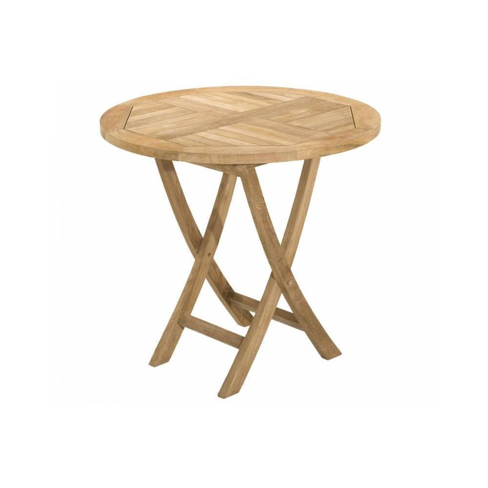 Table ronde pliante de jardin 80*80 cm en teck