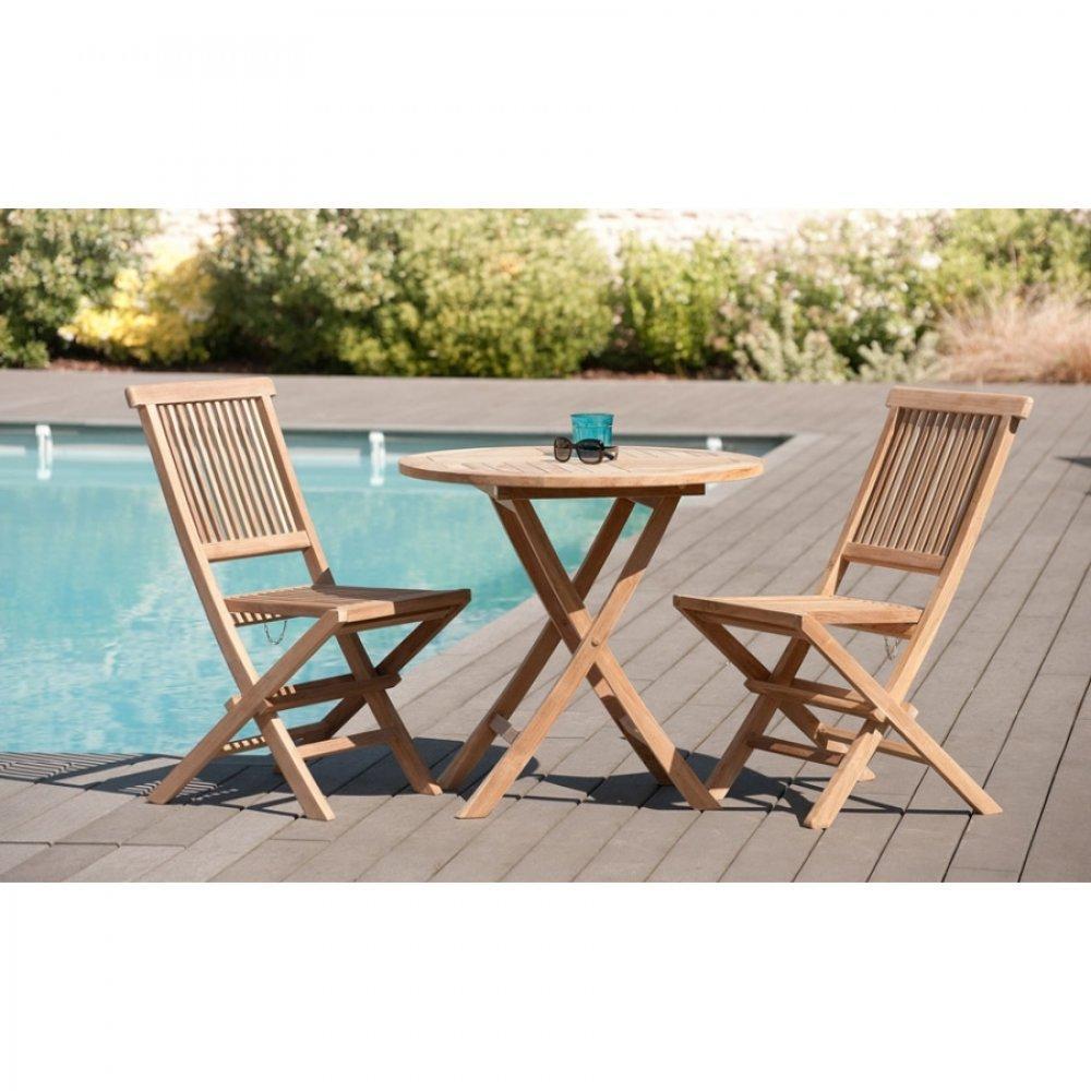 Tables design au meilleur prix table ronde pliante de jardin 80 80 cm en teck inside75 - Table jardin teck massif fort de france ...