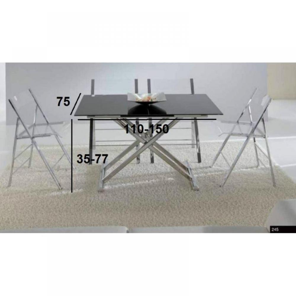 Tables relevables meubles et rangements lift cristal for Table basse acier noir