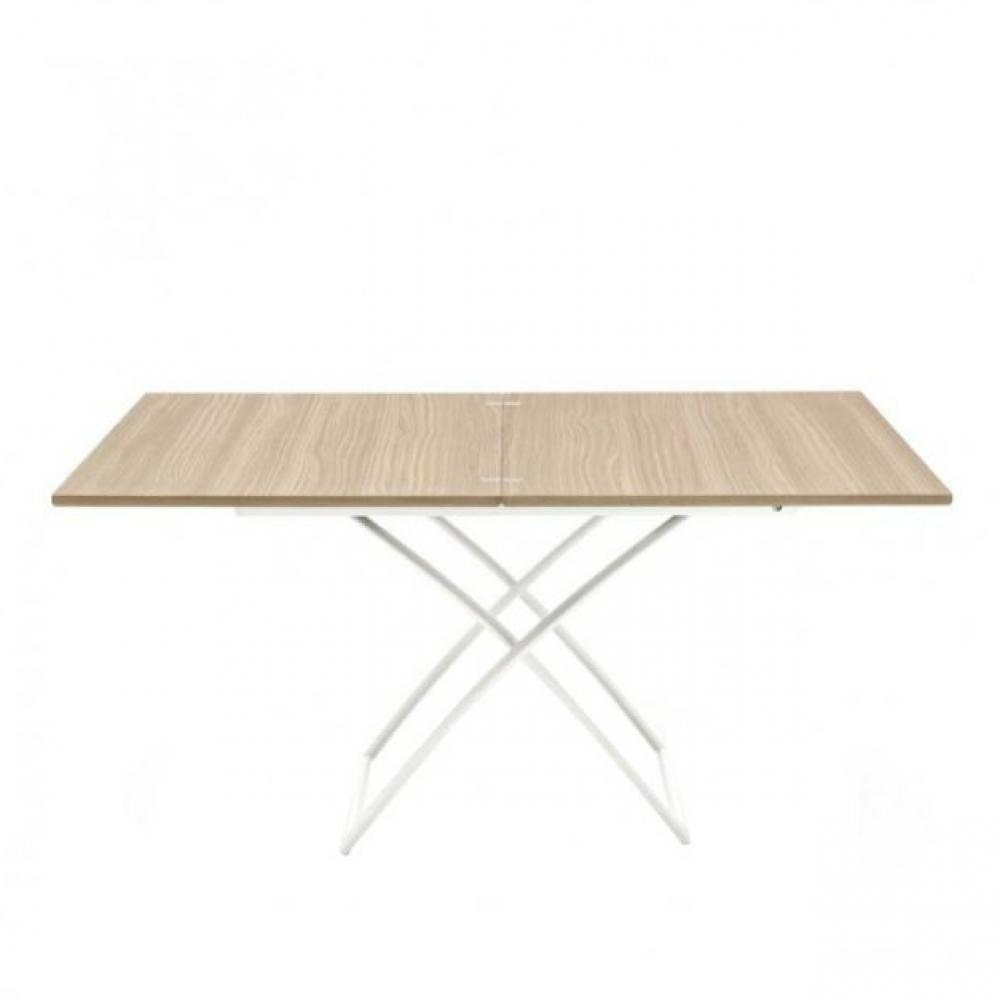 Table Basse Relevable Extensible Italienne Magic J En Bois Naturel Et Pietement En Acier Laque Blanc