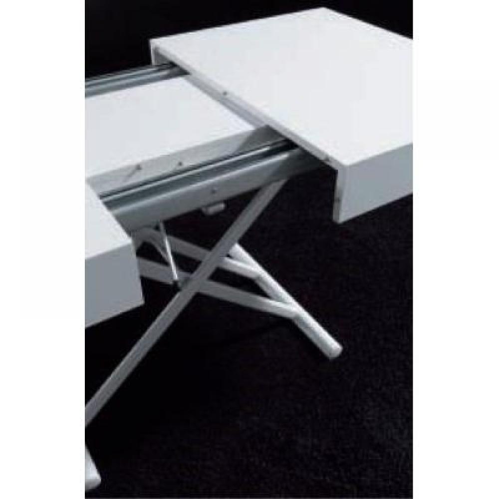 Table basse relevable extensible BLOCK 80 x 120 cm design blanc brillant
