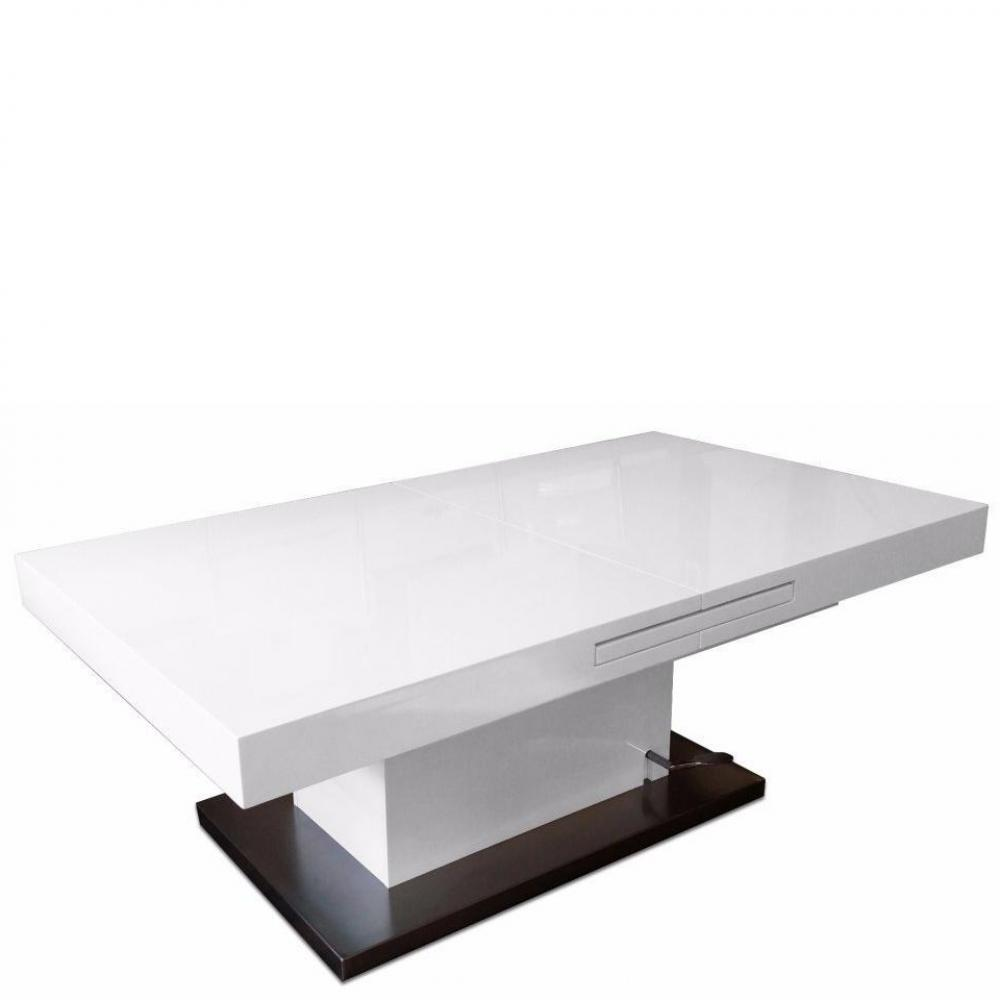Table basse laque blanc et noir valdiz for Table basse relevable noir