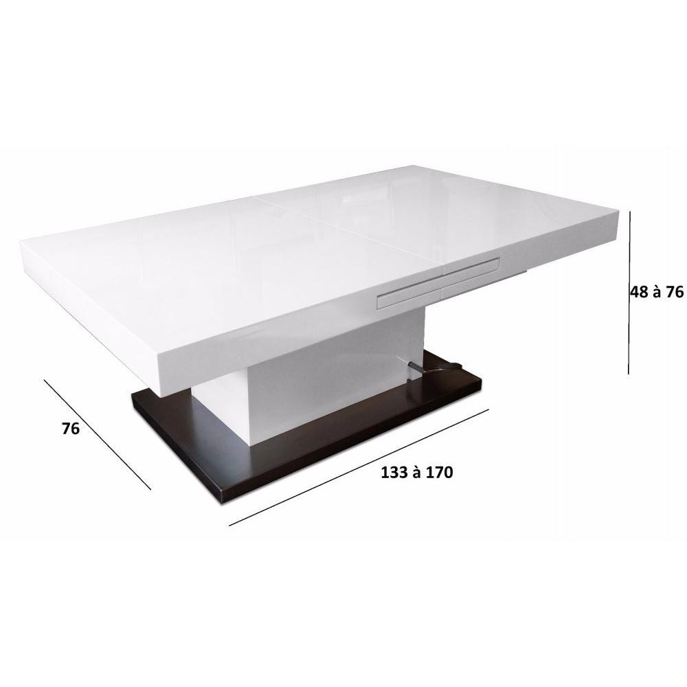 table basse relevable extensible setup blanc brillant - Inside75 Table Basse