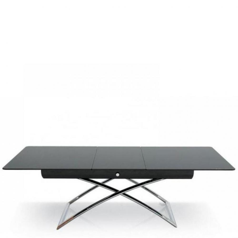 CALLIGARIS Table basse relevable extensible italienne MAGIC J Glass  en verre noir et piétement en acier chromé
