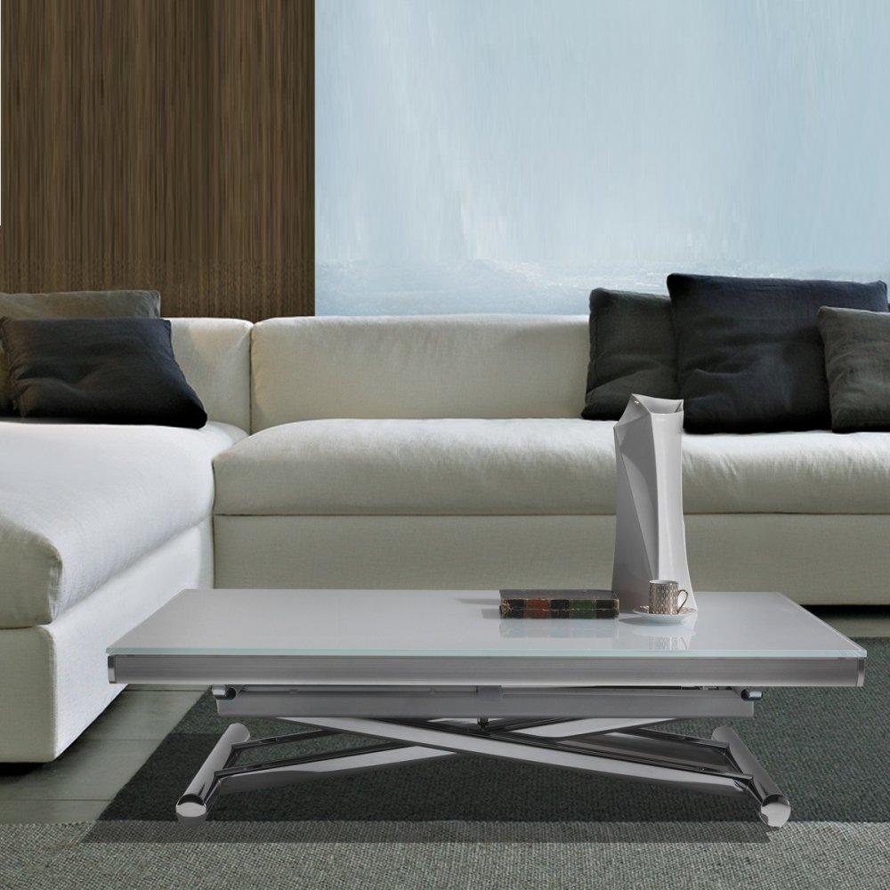 Table basse relevable extensible HAPPENING blanc avec piétement chromé