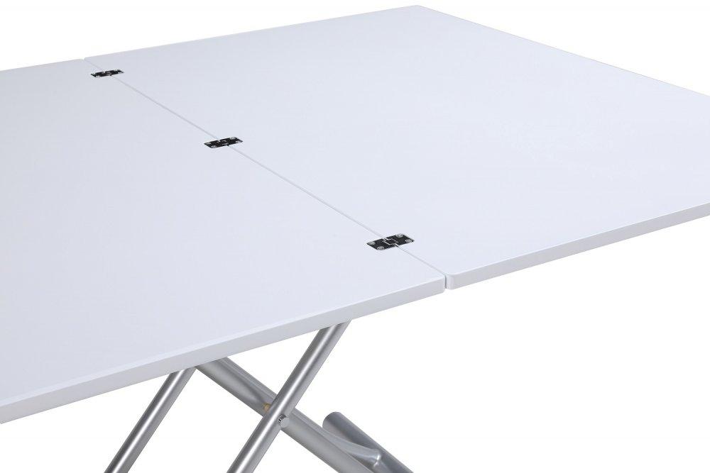 Table basse relevable extensible TRENDY Laqué blanc brillant Pied alu 110 x 70/140 cm