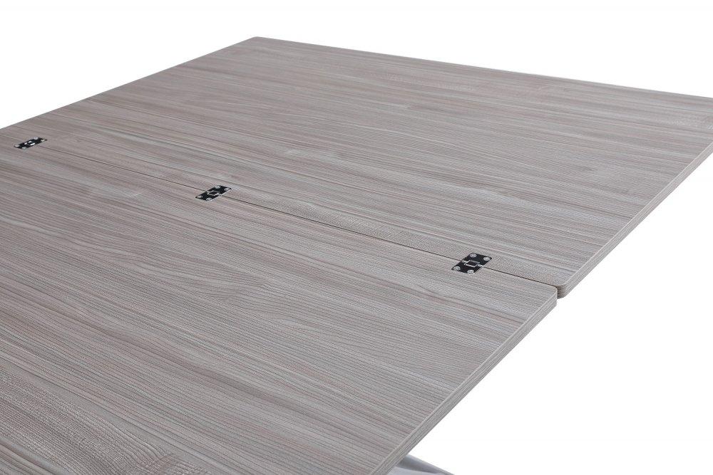 Table basse relevable extensible TRENDY mélaminé chêne gris Pied alu 110 x 70/140 cm