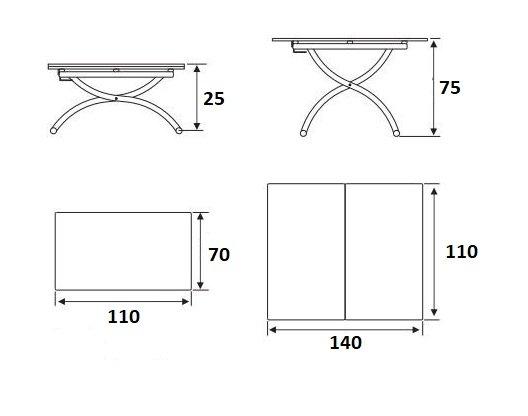 Table basse relevable extensible TRENDY Mélaminé bois noir Pied alu 110 x 70/140 cm