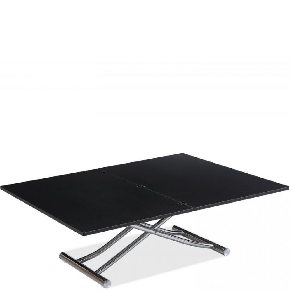 Table basse relevable extensible TRENDY Mélaminé bois noir/Pied Chromé 110 x 70/140 cm