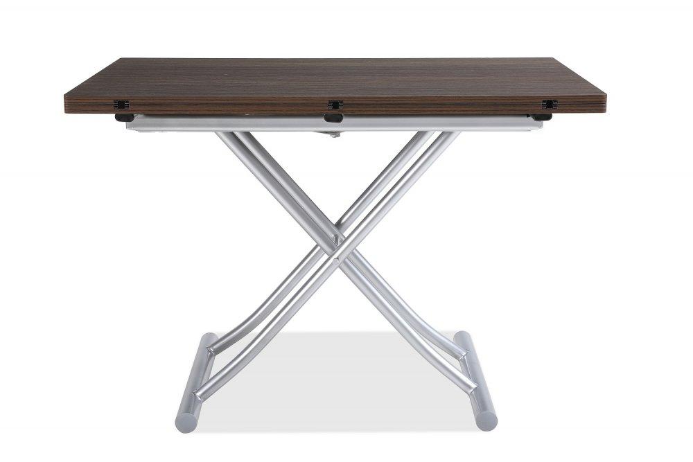 Table basse relevable extensible TRENDY mélaminé Wengé Pied alu 110 x 70/140 cm