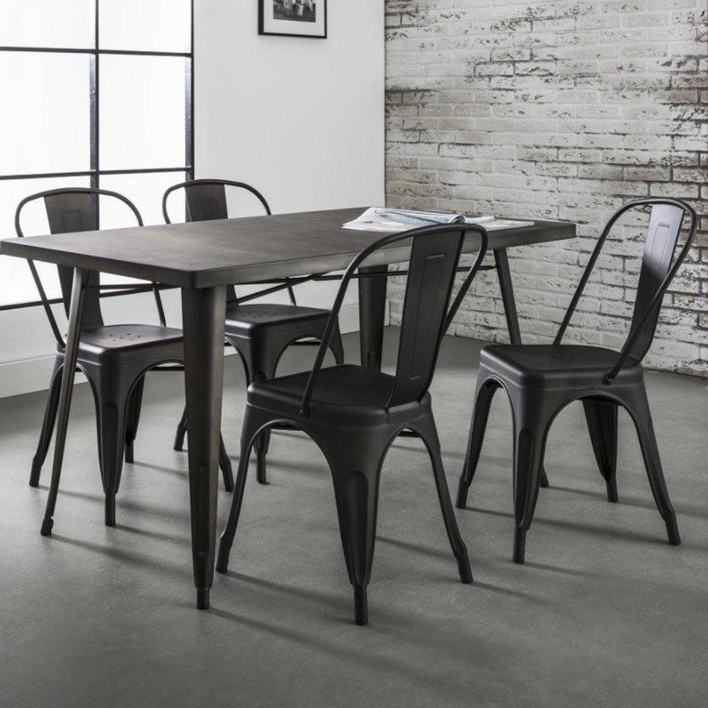Table Repas 14080 Cm INDUSTRY Style Industriel En Acier