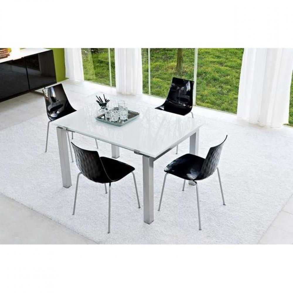 Table de repas design au meilleur prix table repas extensible airport de cal - Table extensible verre blanc ...