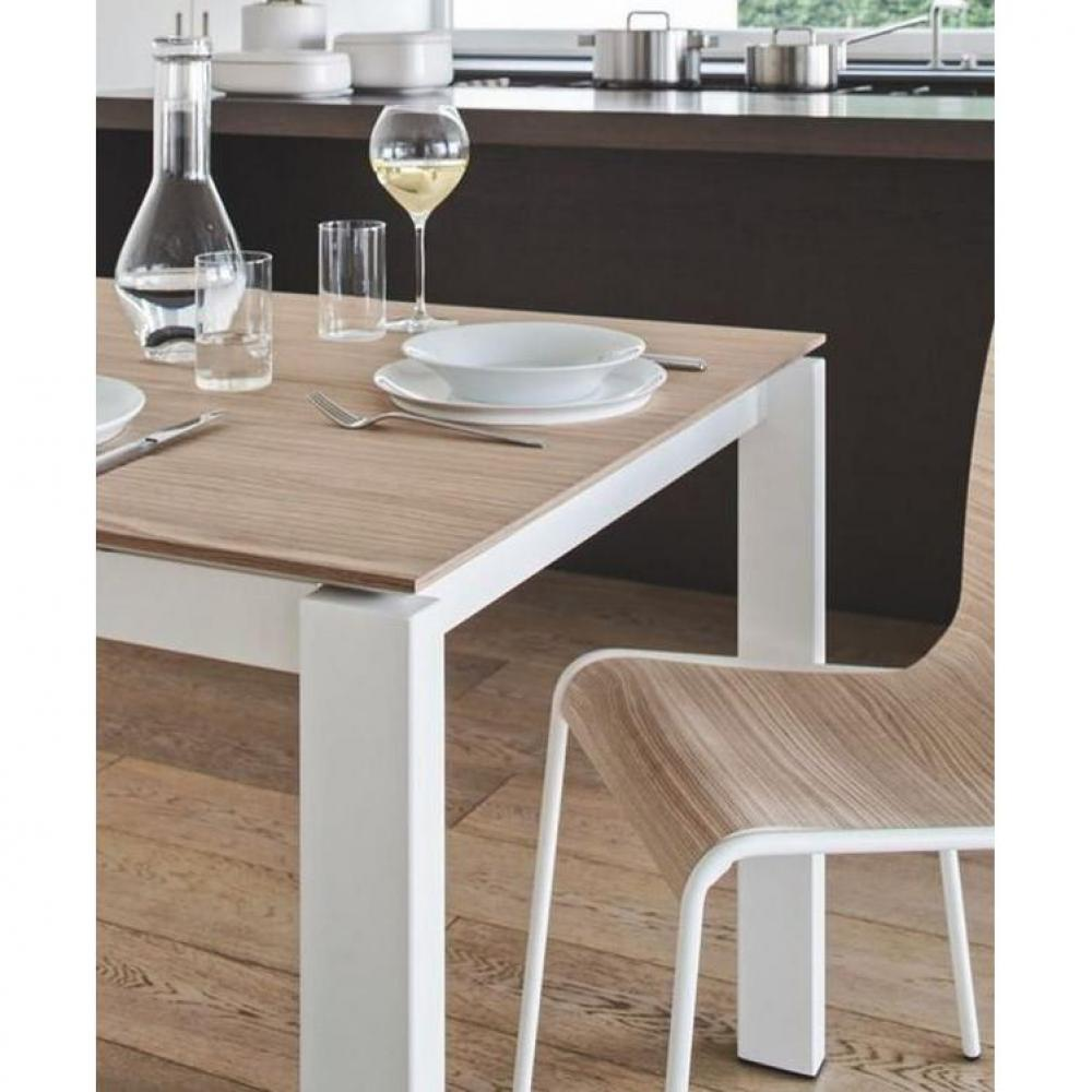 Tables design au meilleur prix table repas extensible baron 130x85 en bois n - Table blanche et bois ...