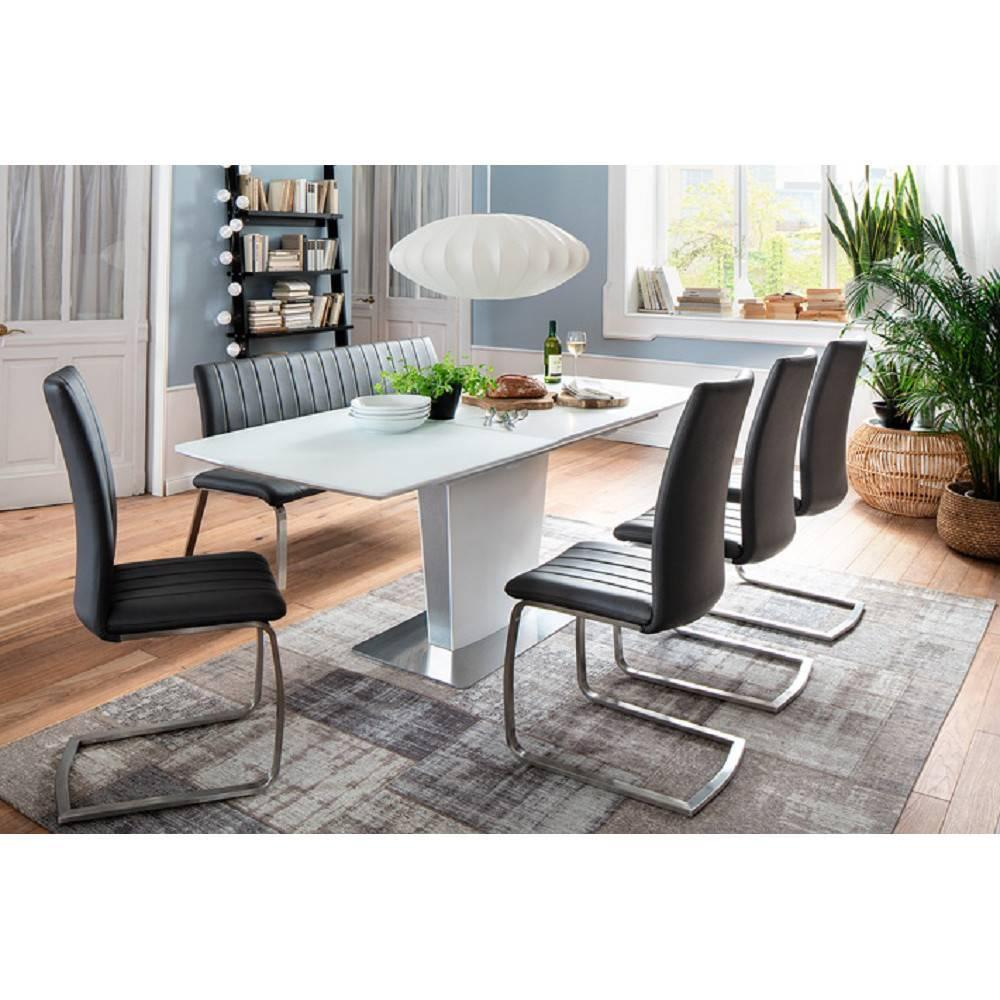 table extensible et de r ception au meilleur prix table repas extensible design hilda blanche. Black Bedroom Furniture Sets. Home Design Ideas