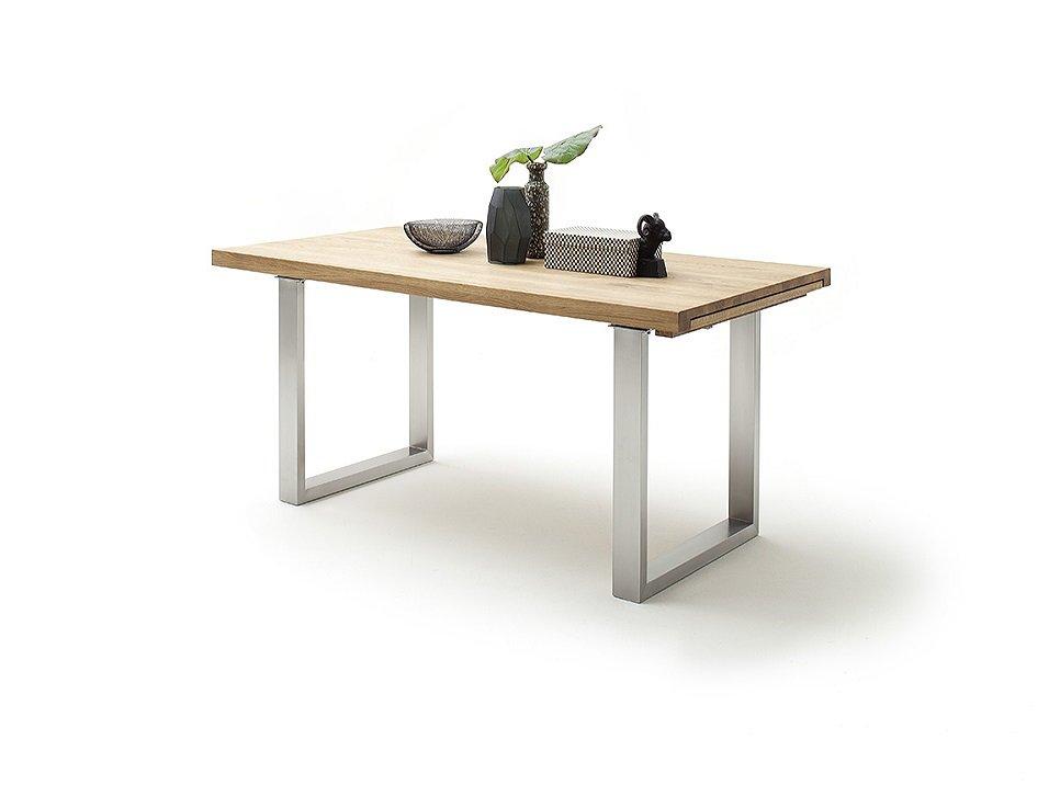 Table extensible DUBLIN 180 x 100 cm chêne sauvage acier brosse