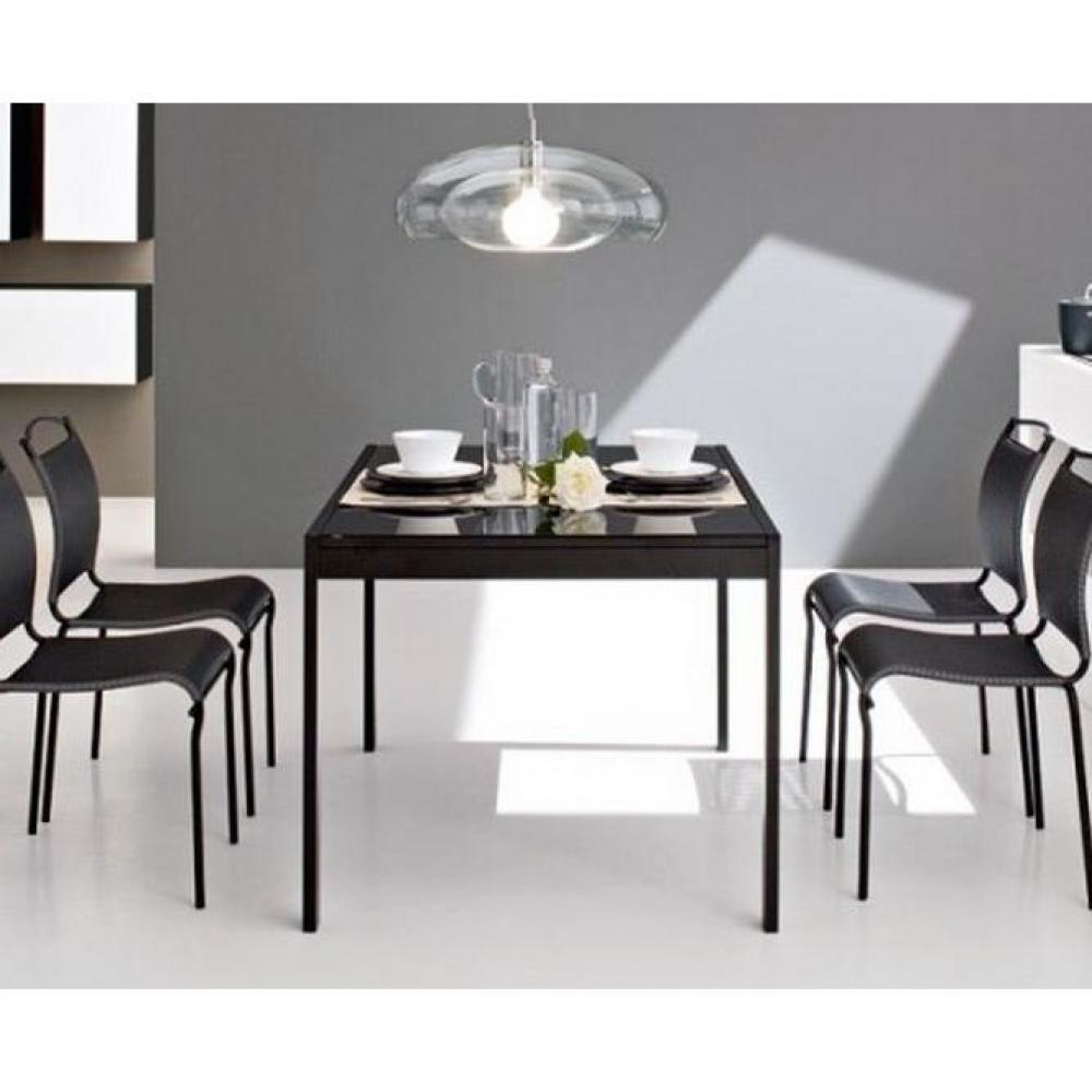 table repas extensible key 130x89 plateau verre noir ebay. Black Bedroom Furniture Sets. Home Design Ideas
