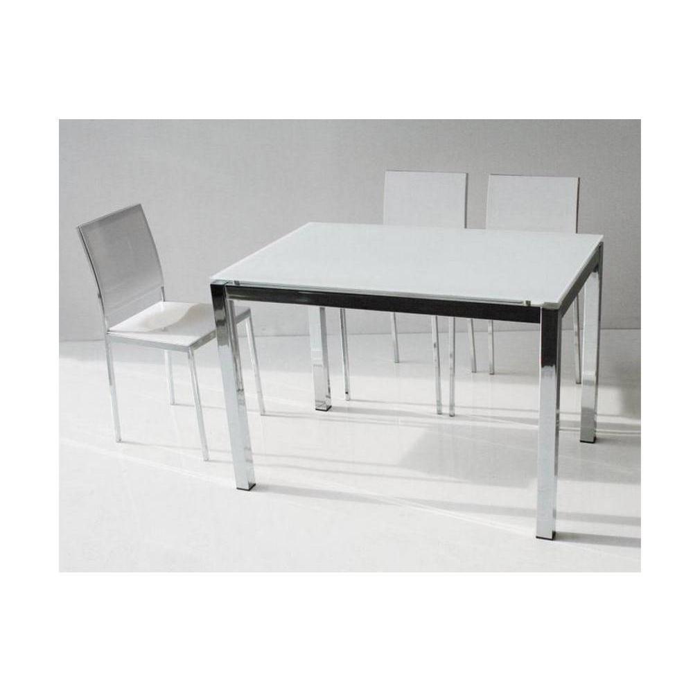 tables repas tables et chaises table repas extensible majestic 130 x 80 cm en verre blanc et. Black Bedroom Furniture Sets. Home Design Ideas