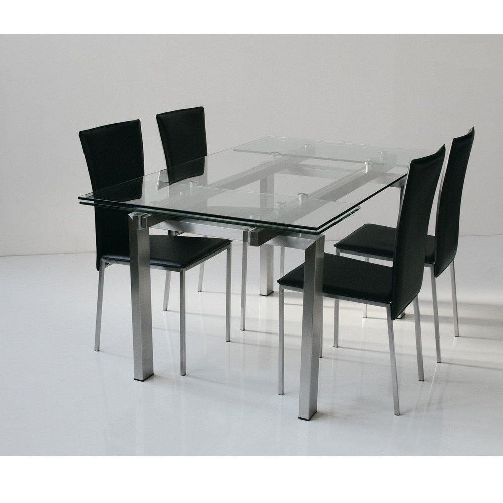 tables design au meilleur prix table repas extensible new york verre et acier 160 x 90 cm. Black Bedroom Furniture Sets. Home Design Ideas