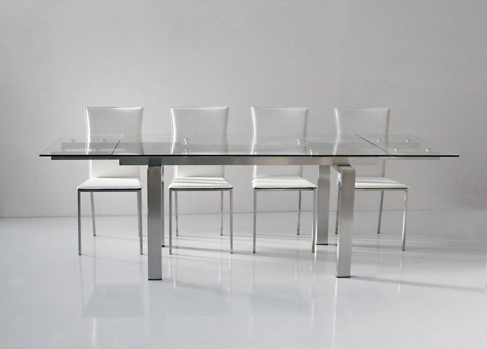 Table repas extensible NEW YORK plateau verre trempé piétement acier brossé 160 x 90 cm.