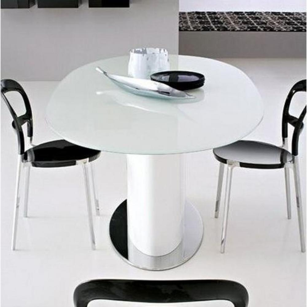 Tables design au meilleur prix table repas ovale for Table verre blanc extensible