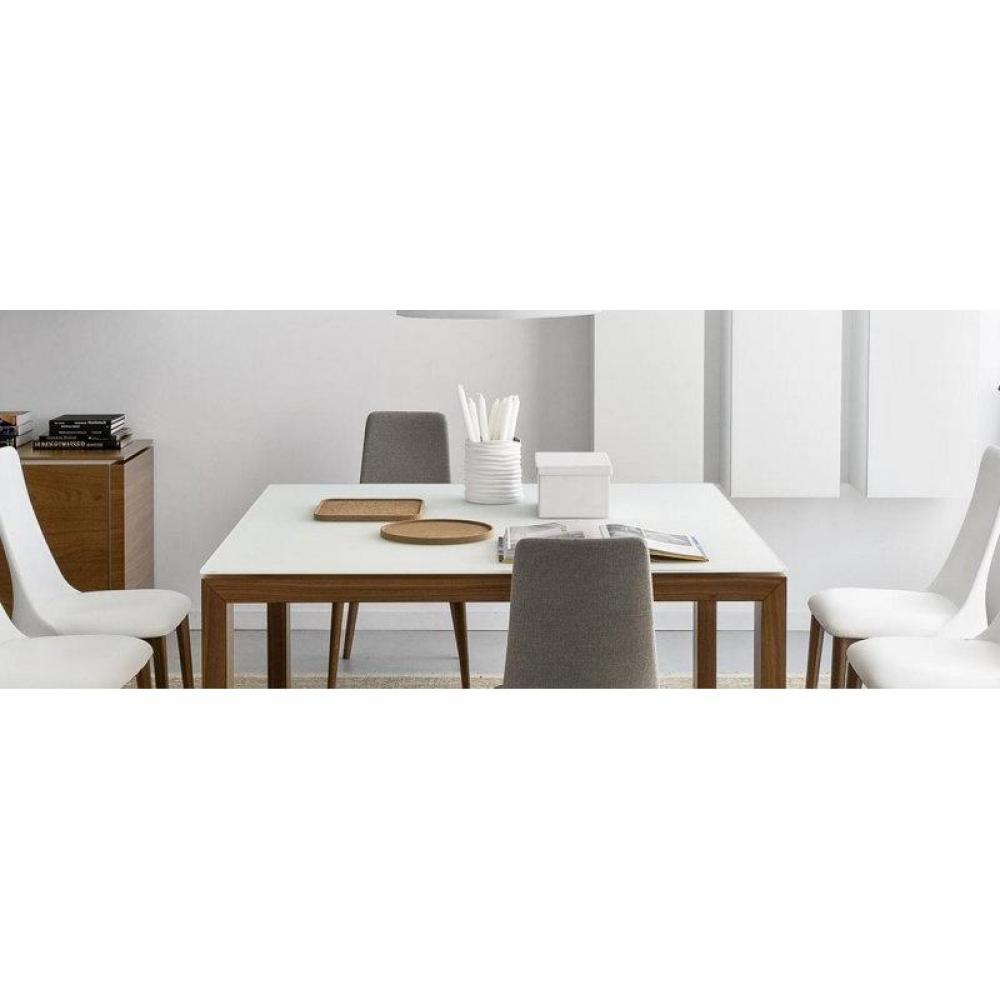 Tables design au meilleur prix table repas extensible sigma glass 140x140 en - Table verre blanc extensible ...