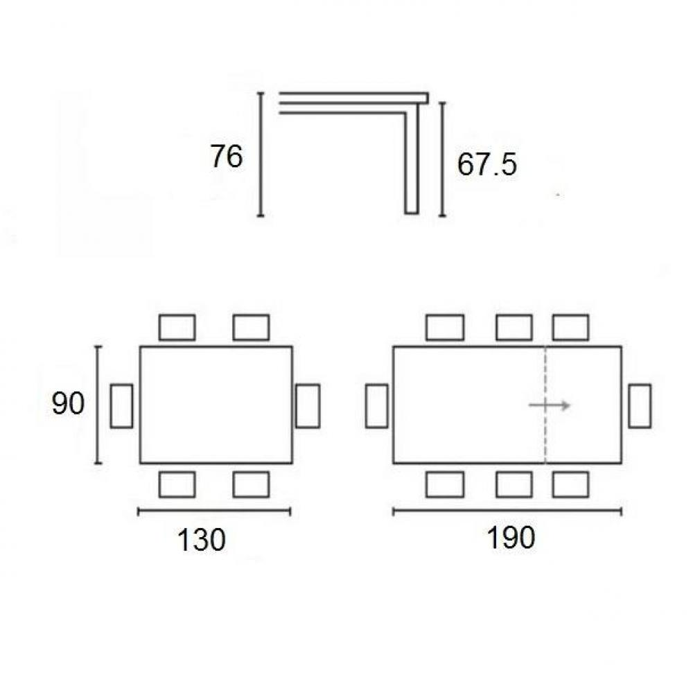 Table extensible SNAP  deco nougat piétement laqué blanc 130x90 cm