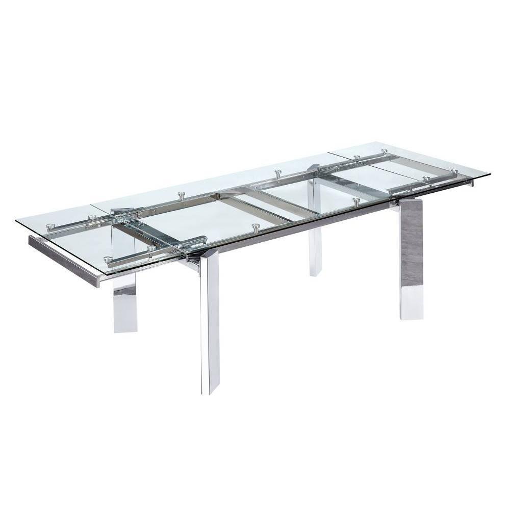 table de repas design au meilleur prix table repas design extensible steel verre et chrome. Black Bedroom Furniture Sets. Home Design Ideas