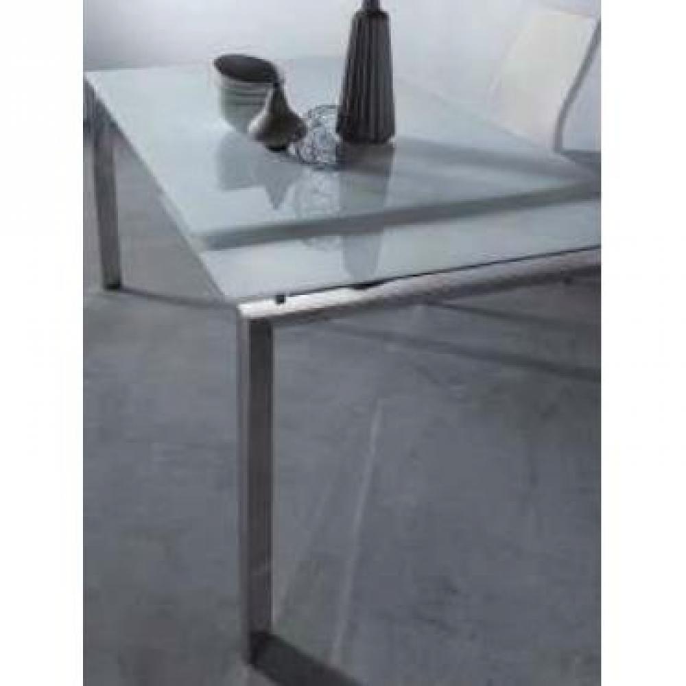 Table de repas design au meilleur prix table repas extensible titanium en ve - Table extensible verre blanc ...