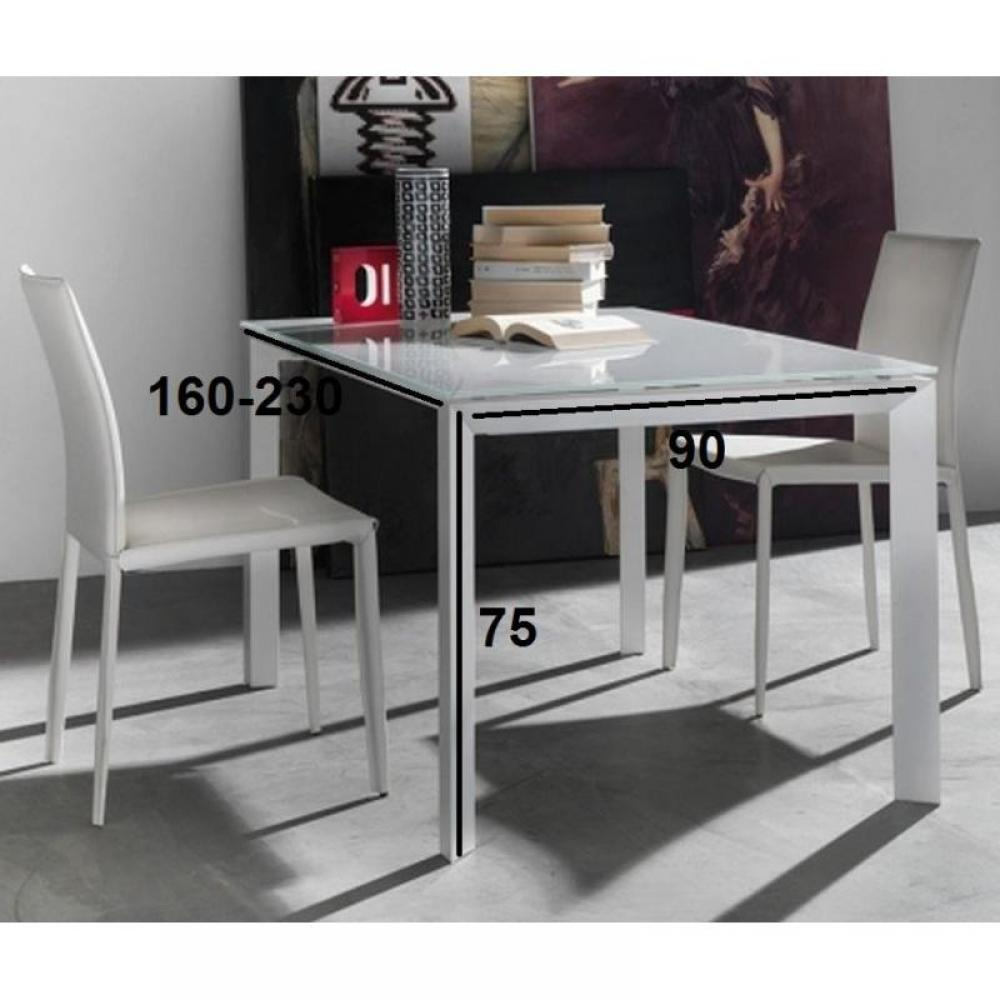 tables design au meilleur prix table repas extensible titanium en verre extra blanc inside75. Black Bedroom Furniture Sets. Home Design Ideas