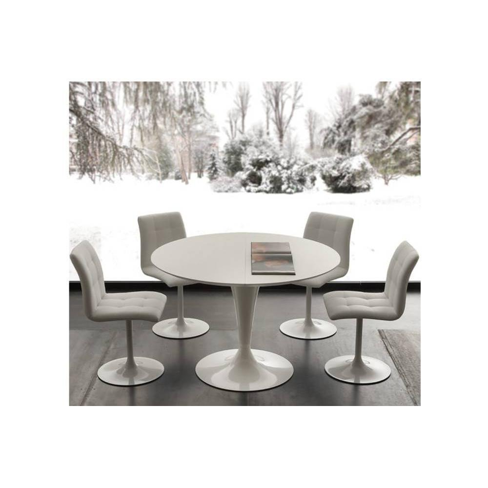 tables design au meilleur prix table de repas extensible tulipe island 120cm m lamin blanc. Black Bedroom Furniture Sets. Home Design Ideas