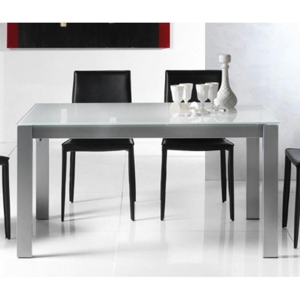 Tables tables et chaises table repas extensible twelve for Table verre blanc extensible