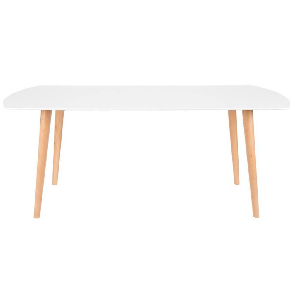 tables tables et chaises table repas helsingor 180 x 90 cm blanc brillant style scandinave. Black Bedroom Furniture Sets. Home Design Ideas