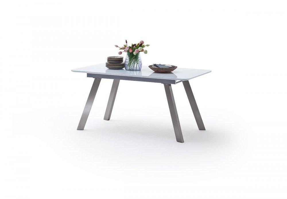 Table repas extensible ODOS 160/200 x 90 cm verre blanc pied acier brossé